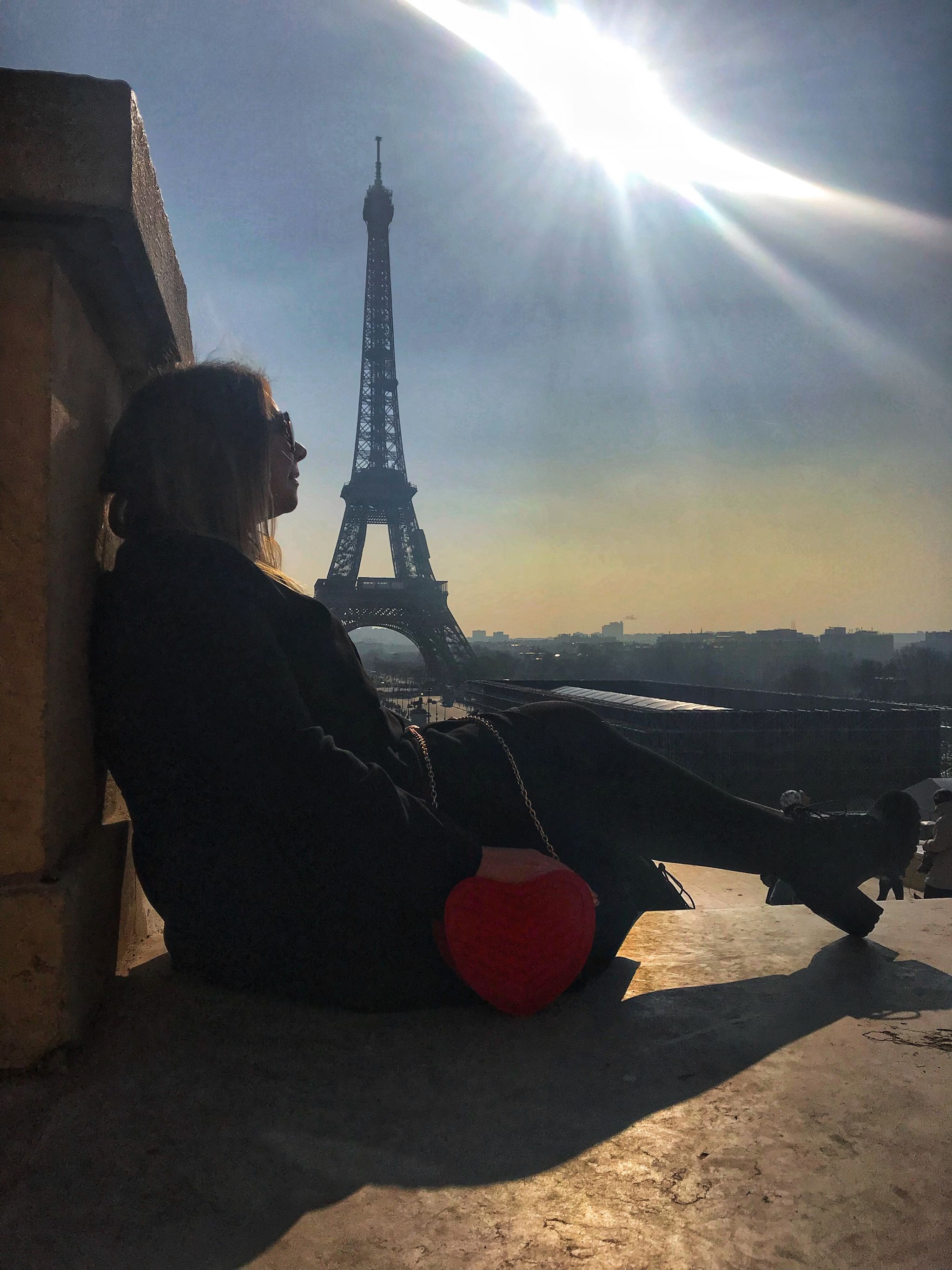 Soaking up the sunset views of the Eiffel Tower