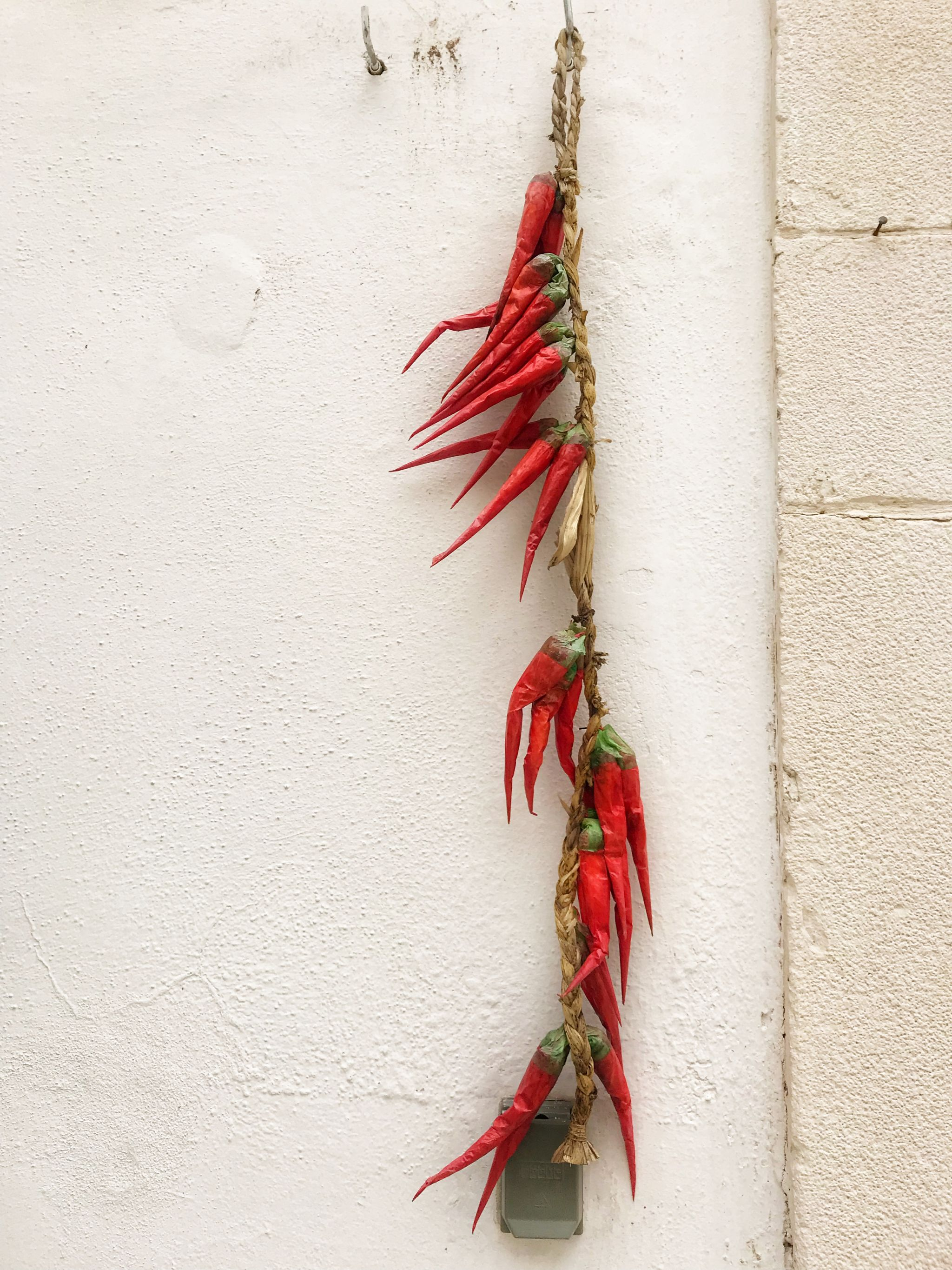Red Chillis dangling from a doorway in Italy