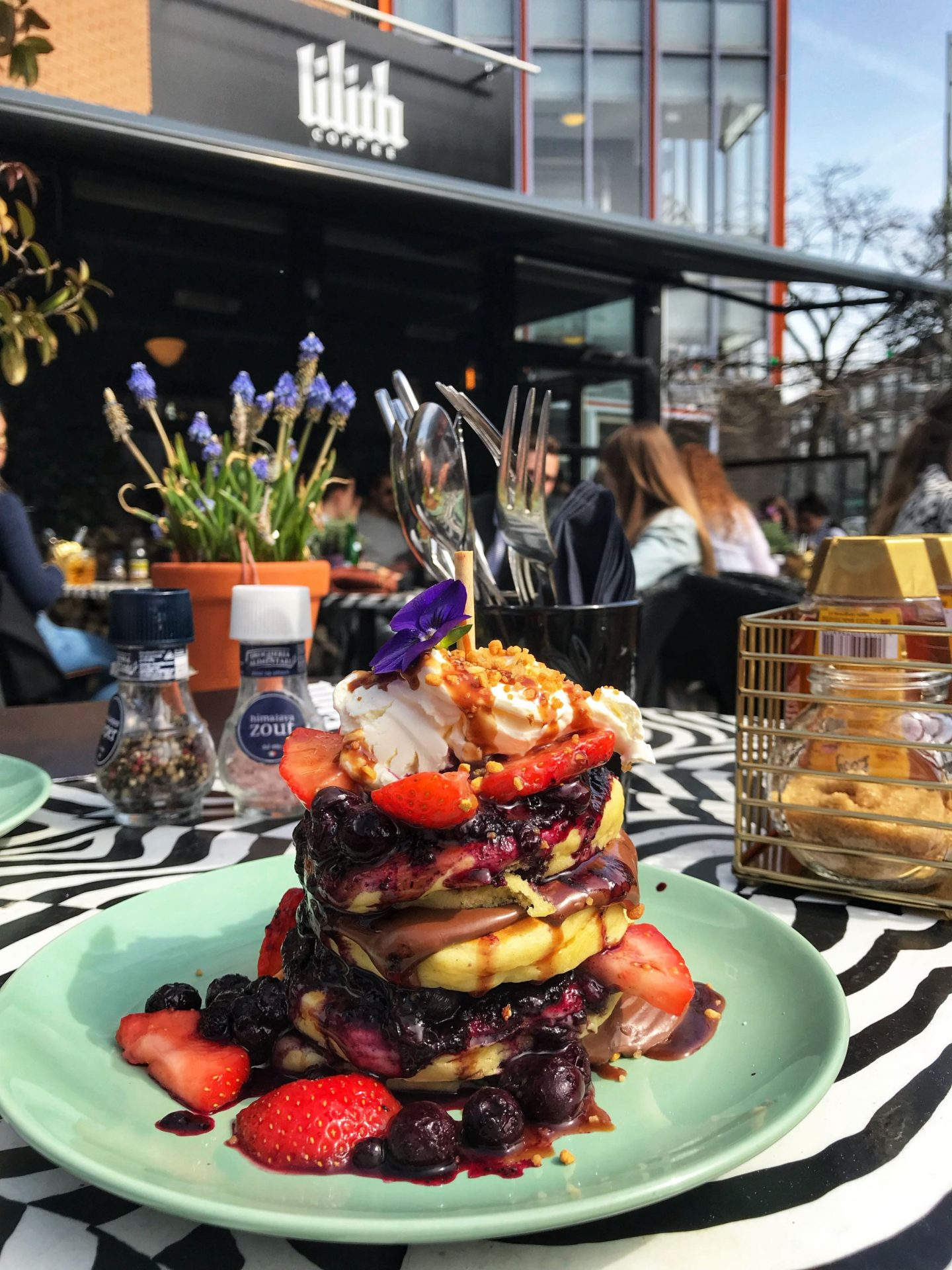 Delicious fruity pancakes at Lilith Coffee Rotterdam