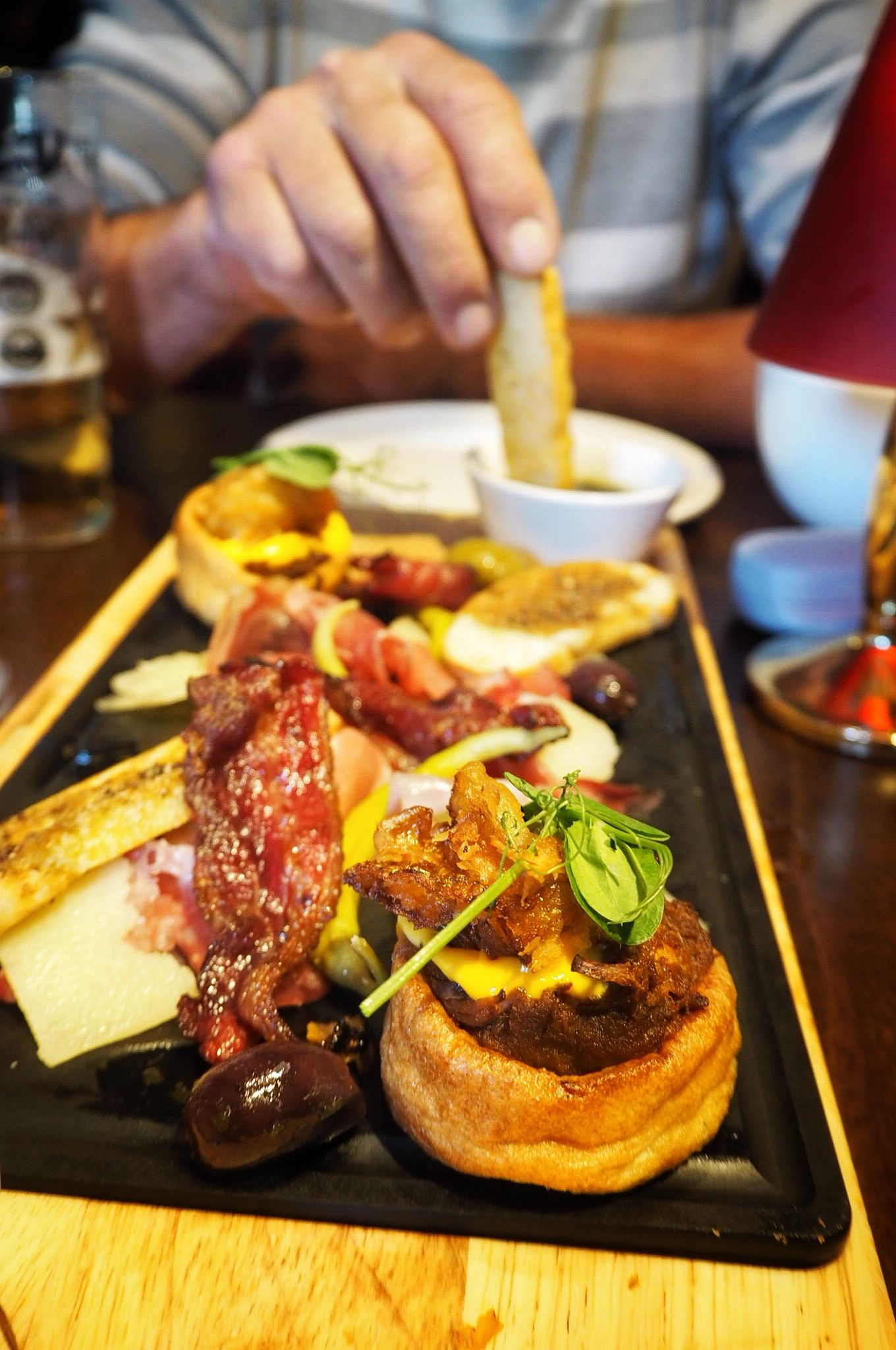 Tucking into the Chefs Meat Board starter Miller and Carter Milton Keynes