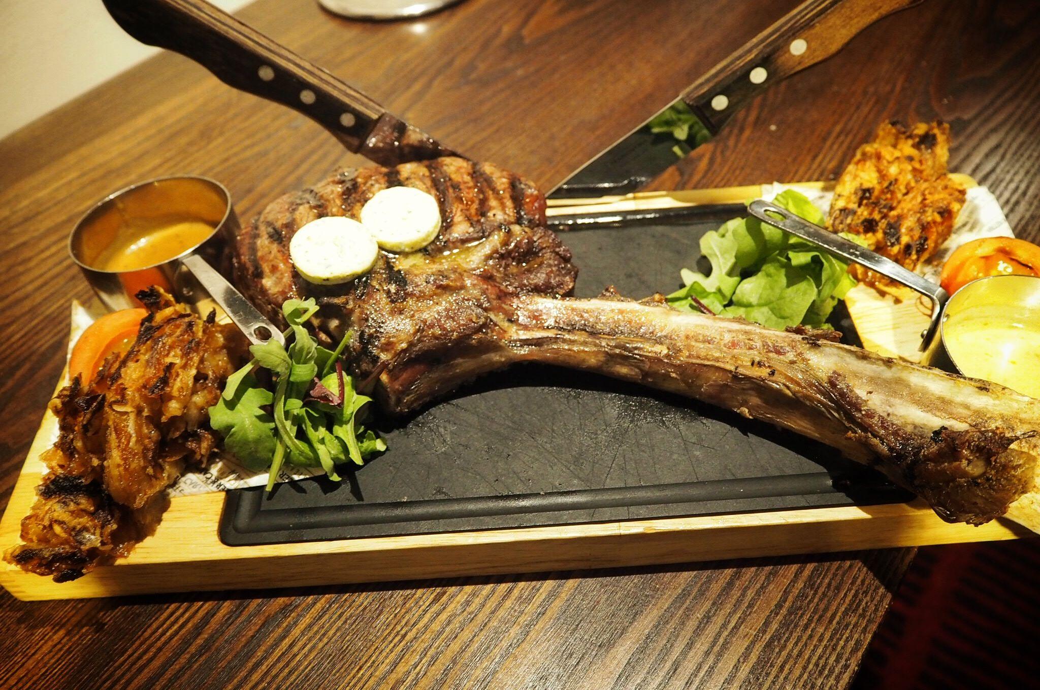 long-bone tomahawk steak Miller and Carter steakhouse Milton Keynes