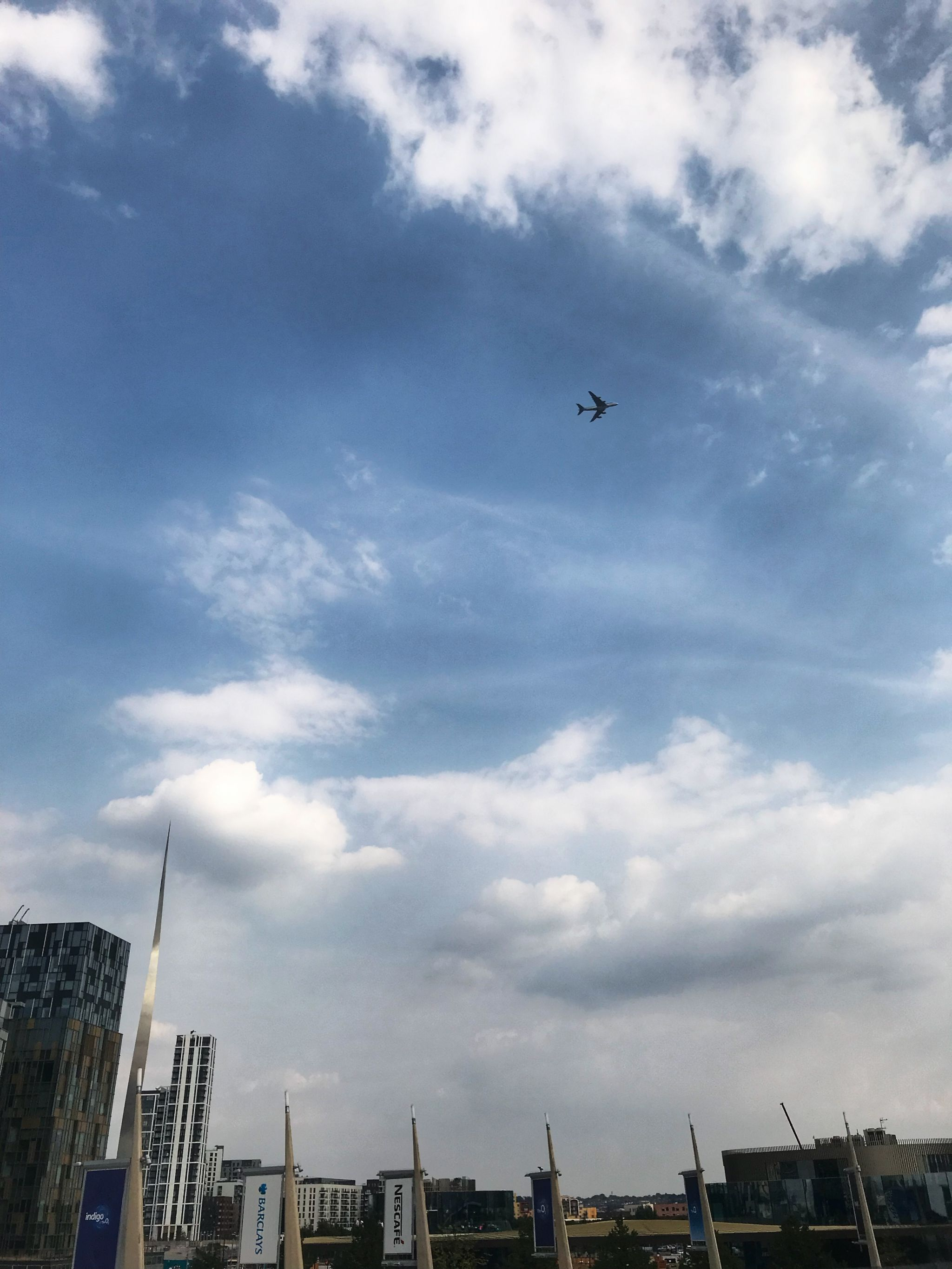 Plane flying over the O2