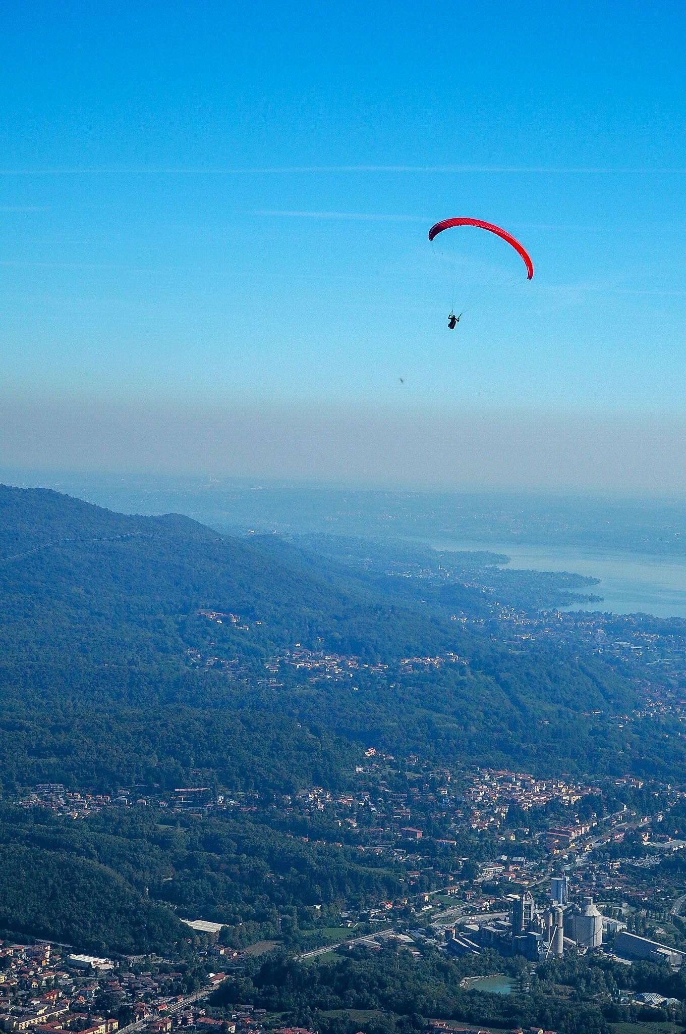 Picturesque paragliding scenes over Lake Maggiore