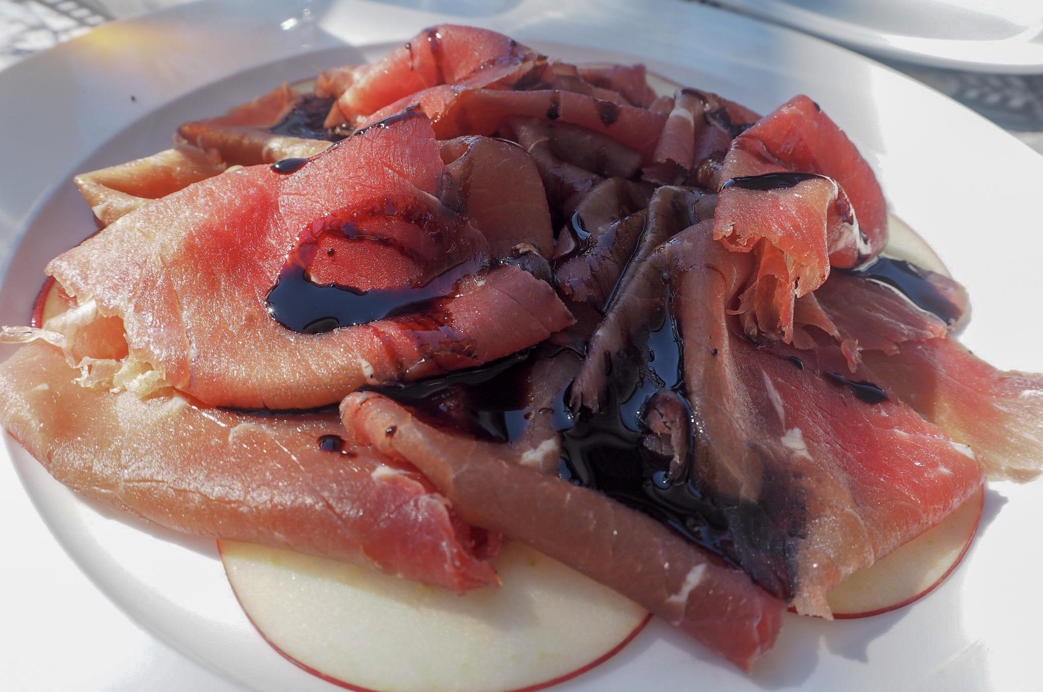 Salted beef with apple slices Panaromic Restaurant