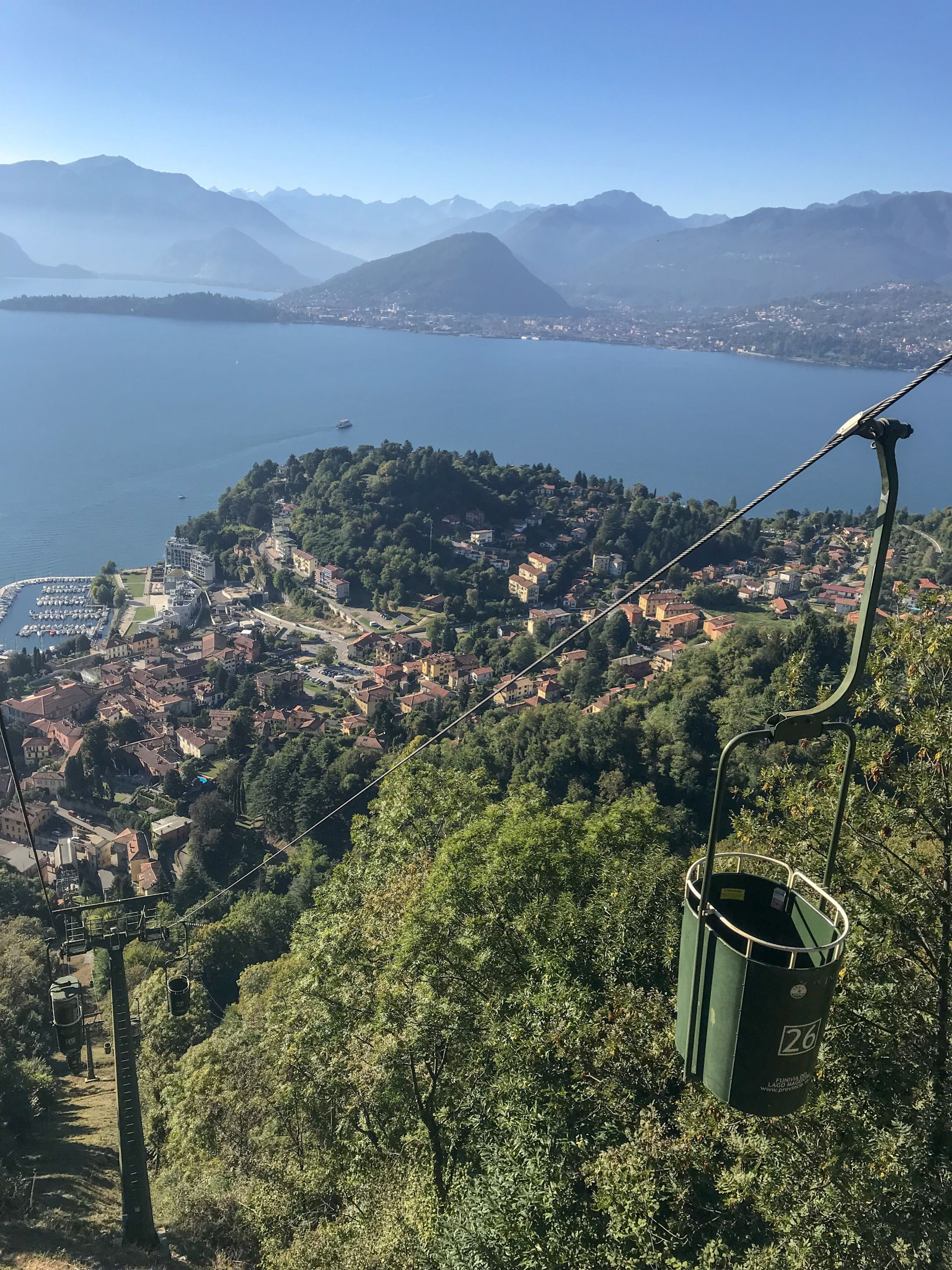 braving the open-top bucket lift cable cars of Lake Maggiore