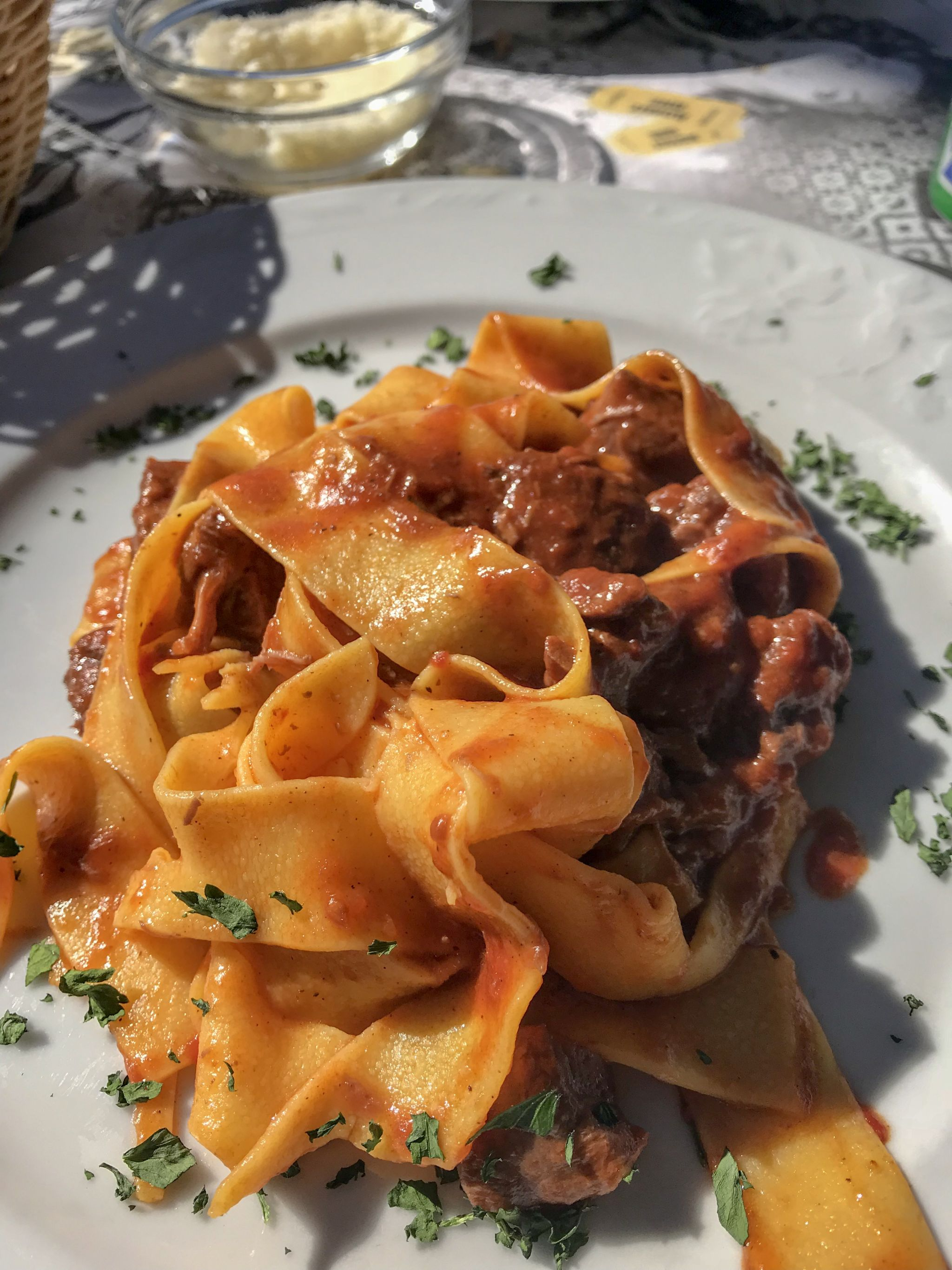 pappardelle pasta with wild boar sauce at Panoramic Restaurant