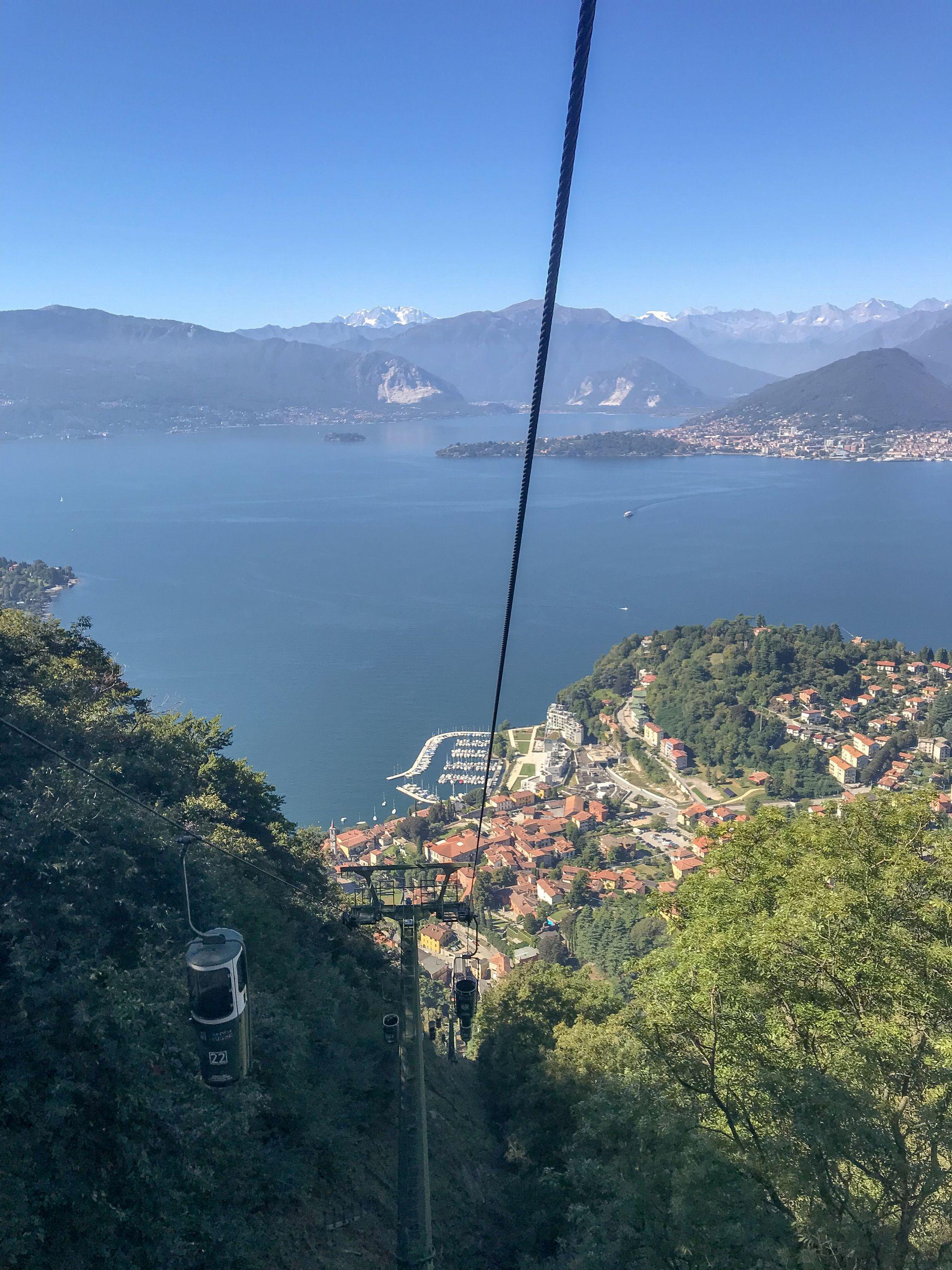 view for miles across Lake Maggiore from Funivie Del Lago Maggiore Sasso del Ferro mountain