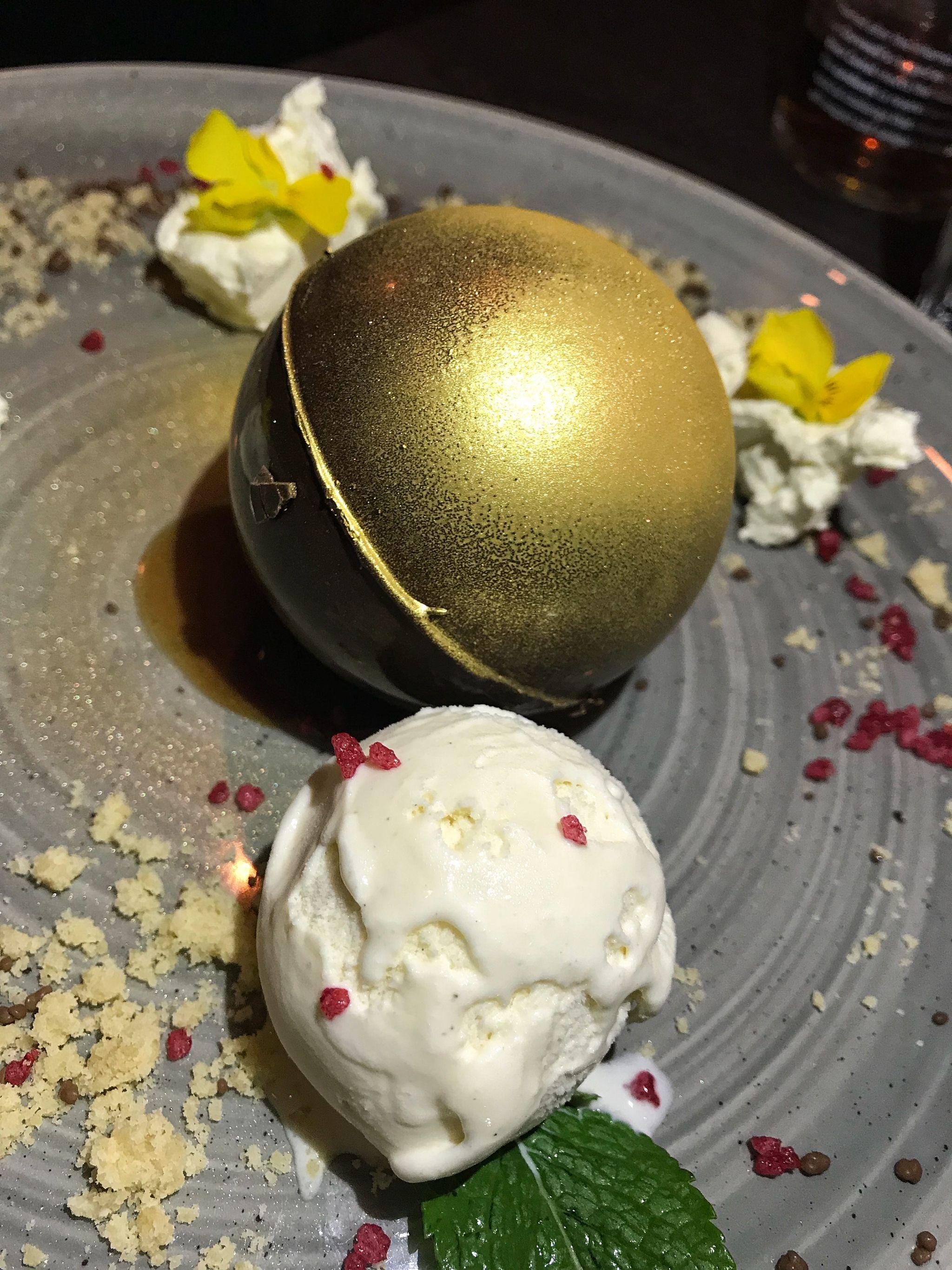Golden Chocolate Peanut Bomb Pudding Black Horse Pub Great Linford Milton Keynes