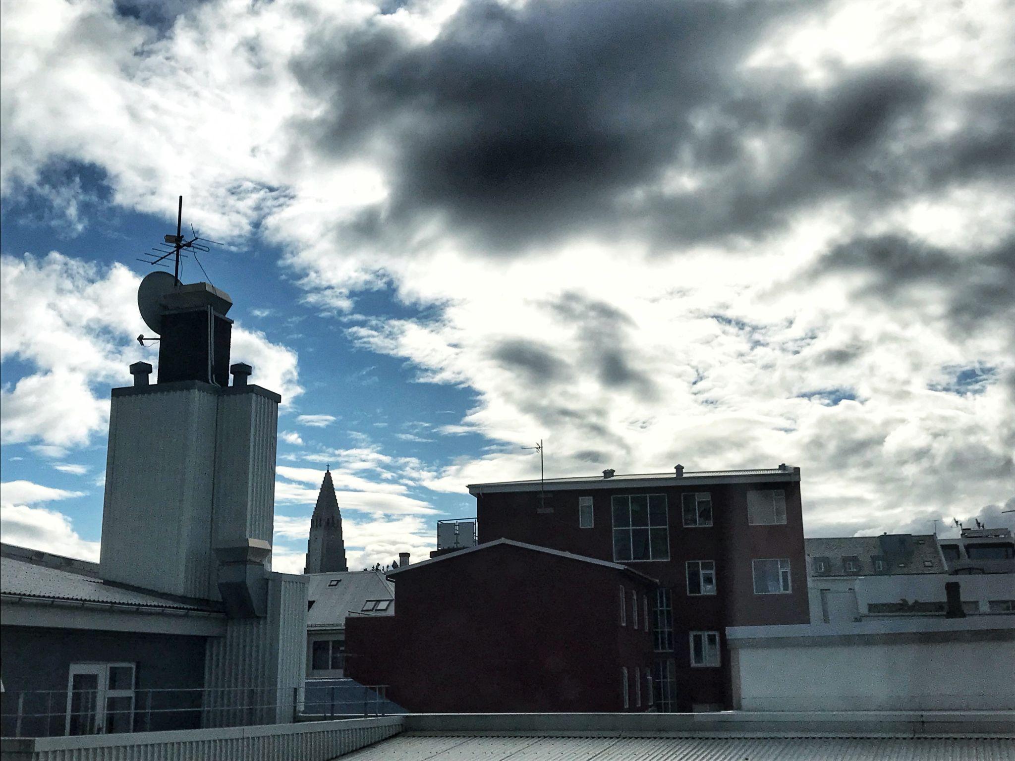 Hotel view of Hallsgrimskirkja Church Reykjavik Iceland