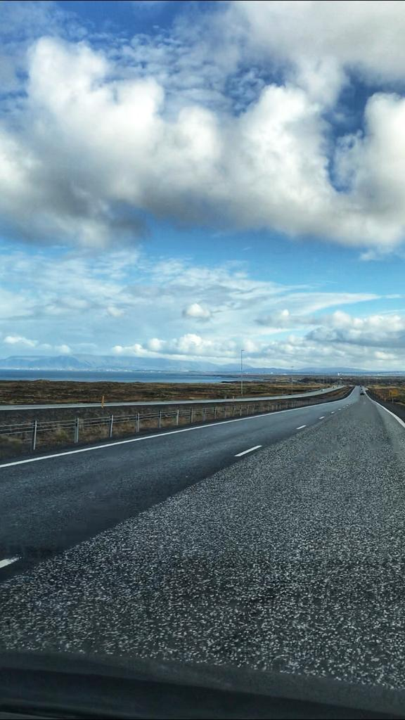 Blue Skies and clear roads driving in Southern Iceland