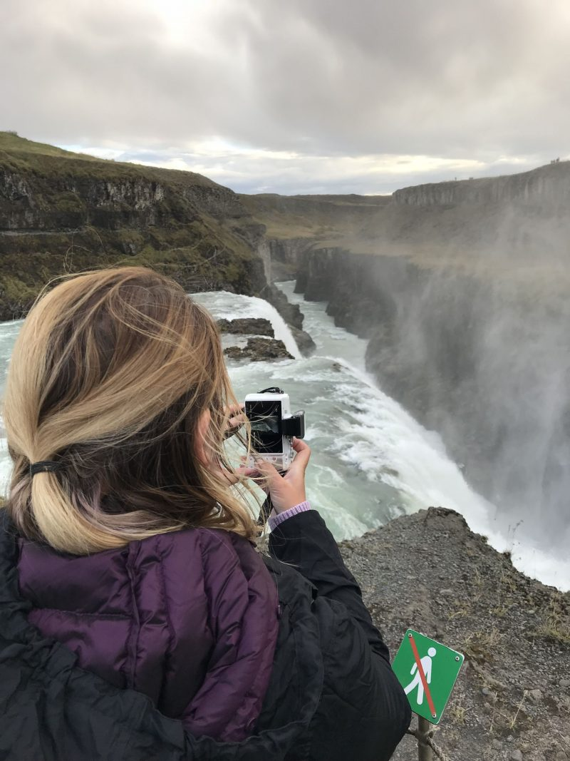 Camera ready at Gullfoss Falls Iceland