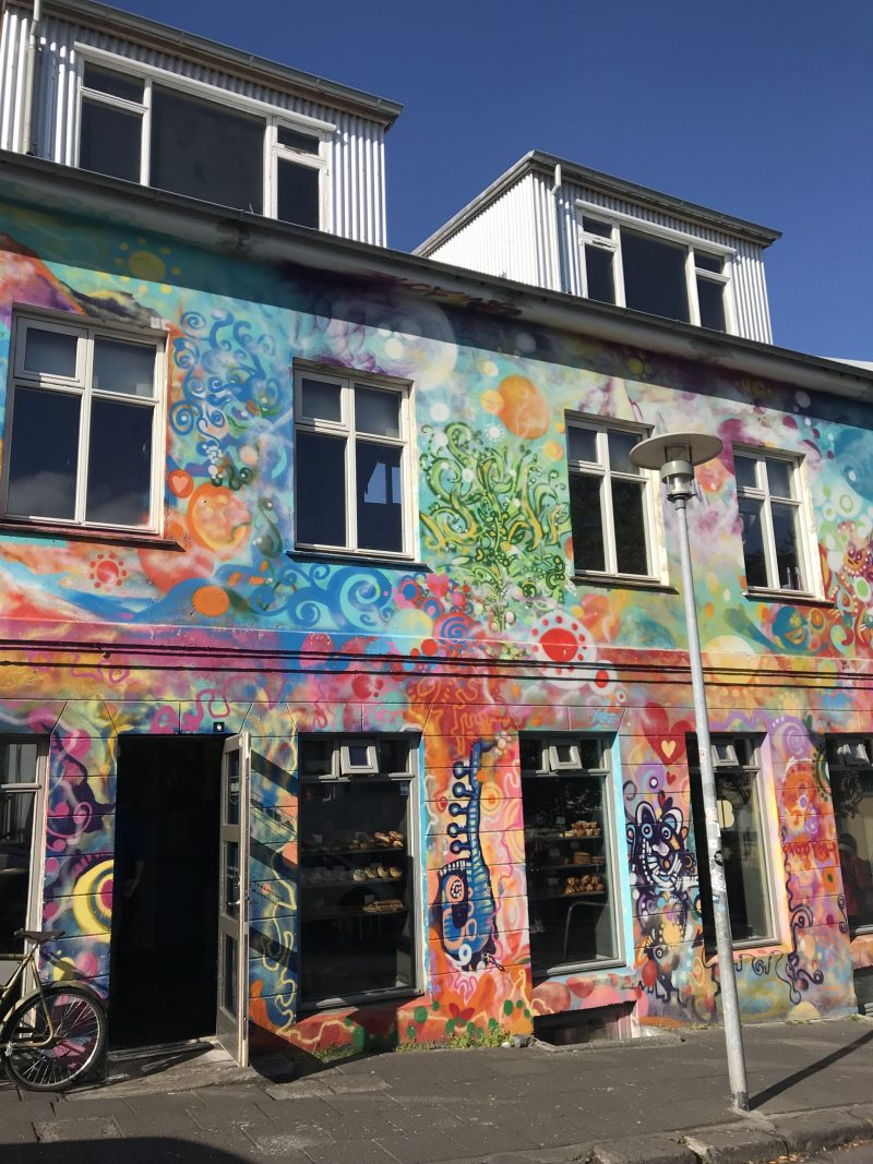 Colourful building and street art in Reykjavik Iceland
