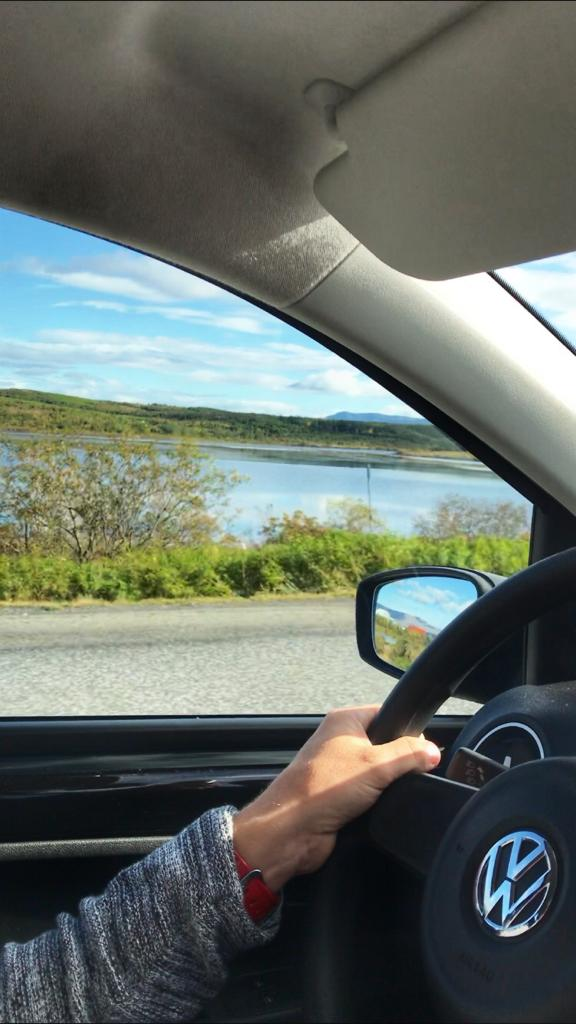 Driving our VW Up hire care in Southern Iceland