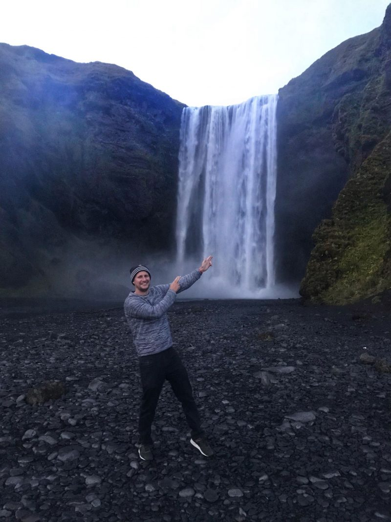 Larking around at Skogafoss Falls