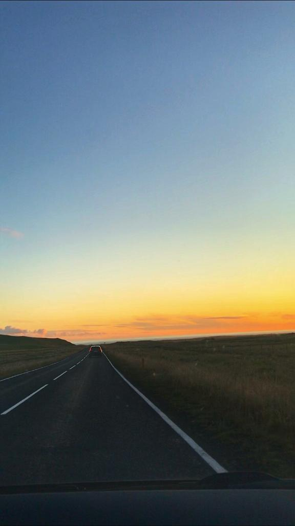 sunset views driving Southern Iceland's ring road