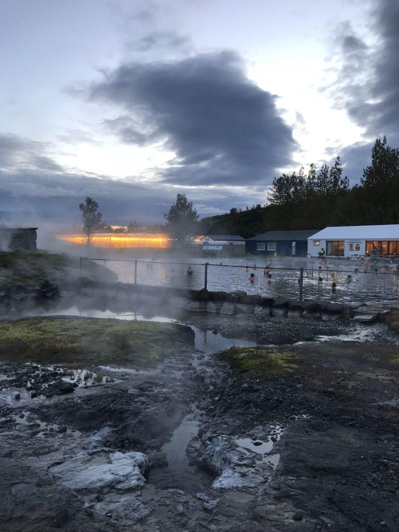 Natural geyser and landscape Secret Lagoon