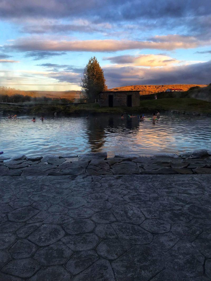 Secret Lagoon Iceland at dusk
