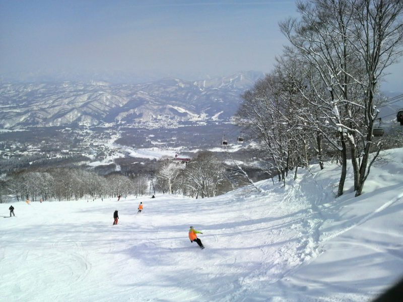 Skiing the powder snow in Hokkaido Japan