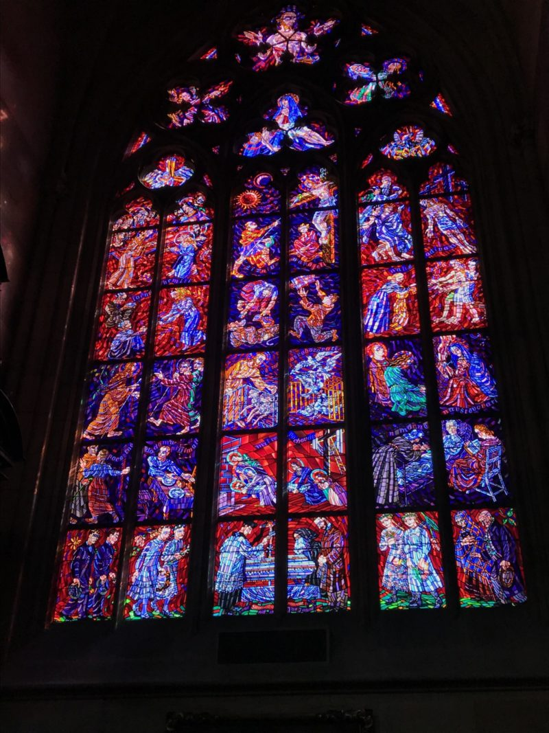 Close up of the stained glass windows at St. Vitus Cathedral