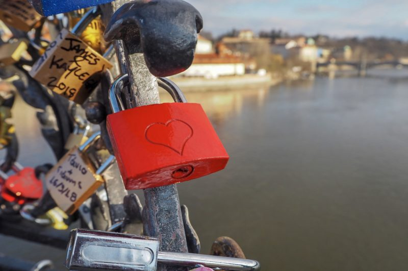 Love locks Charles Bridge Prague