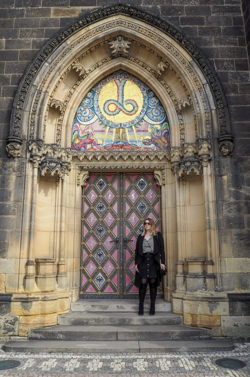 Vysehrad Fortress Pretty pink mosaic door